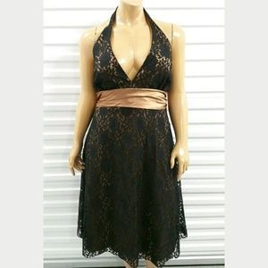 New Bari Jay Black Brown Halter Lace Formal Dress